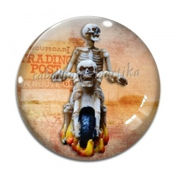 Cabochon Verre - motard squelette