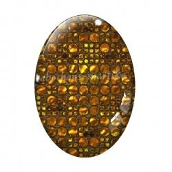Cabochon Verre Ovale - brillant doré