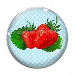 Cabochon Verre - fraise