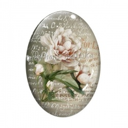 Cabochon Verre Ovale - roses