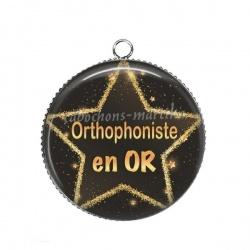 Pendentif Cabochon Argent - orthophoniste en or
