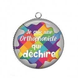 Pendentif Cabochon Argent - je suis une orthophoniste qui déchire