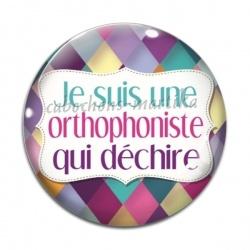Cabochon Verre - je suis une orthophoniste qui déchire