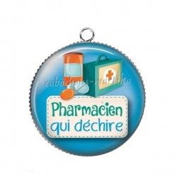 Pendentif Cabochon Argent - pharmacien qui déchire