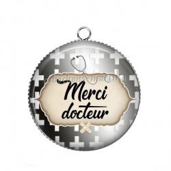 Pendentif Cabochon Argent - super docteur