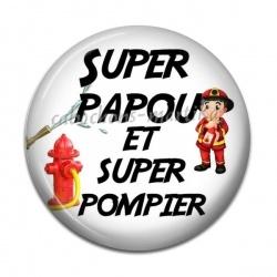 Cabochon Résine - super papou et super pompier
