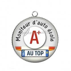 Pendentif Cabochon Argent - moniteur d'auto école