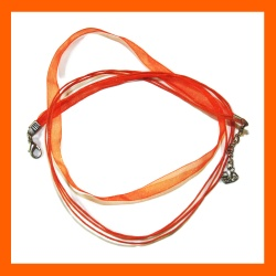 Collier cordon organza orange