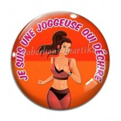 Cabochon Verre - je suis une joggeuse qui déchire