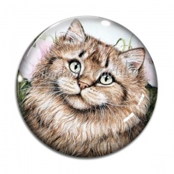 Cabochon Verre - chat