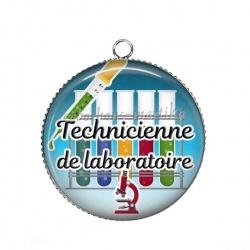 Pendentif Cabochon Argent - technicienne de laboratoire