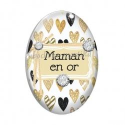 Cabochon Verre Ovale - maman en or