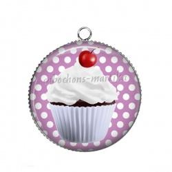 Pendentif Cabochon Argent - cup cake