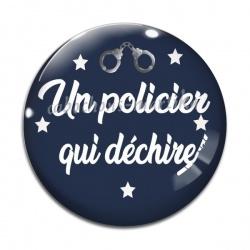 Cabochon Verre - un policier qui déchire