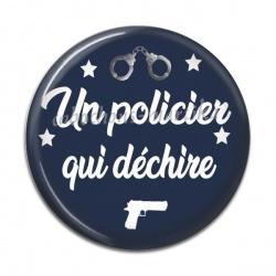 Cabochon Résine - un policier qui déchire