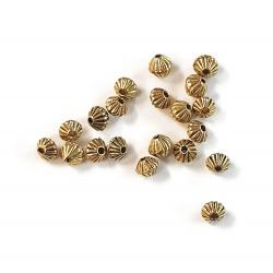 20 perles toupies métal doré 5 mm