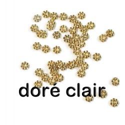 50 perles rondelle striées doré
