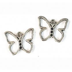 breloque papillon métal argenté