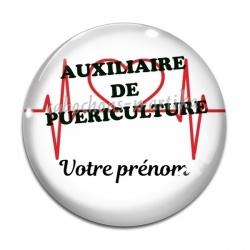 Cabochon Verre - auxiliaire de puéricultrice personnalisable