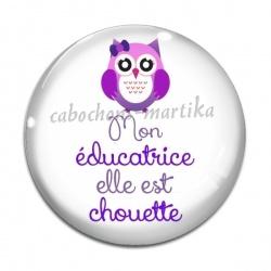 Cabochon Verre - mon éducatrice elle est chouette