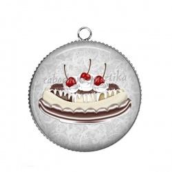 Pendentif Cabochon Argent - gâteau