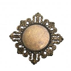 1 Support cabochon coeur métal bronze