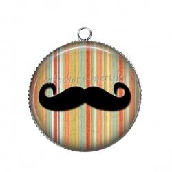 Pendentif Cabochon Argent - moustache