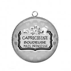 Pendentif Cabochon Argent - Capricieuse boudeuse mais princesse