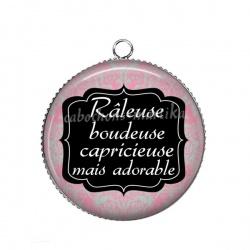 Pendentif Cabochon Argent - Râleuse boudeuse capricieuse mais adorable