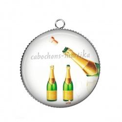 Pendentif Cabochon Argent - Bonne année