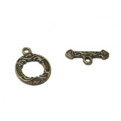 5 Fermoirs toggles métal bronze
