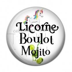 Cabochon Résine - licorne boulot mojito
