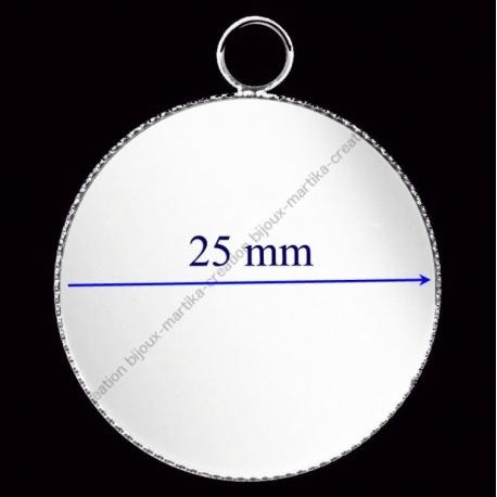 support métal argenté pour Cabochon de 25 mm
