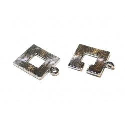 5 fermoirs toggles carré métal argenté