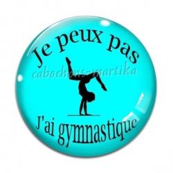 Cabochon Verre - je peux pas j'ai gymnastique