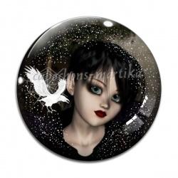 Cabochon Verre - petite fille gothique