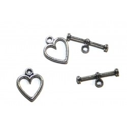 5 fermoirs toggles coeur 15  mm