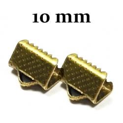 10 Fermoirs griffe bronze embout attache rubans tissus