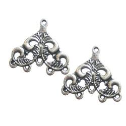 4 connecteurs chandeliers métal argenté