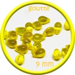 20 perles gouttes de verre 9 mm couleur jaune