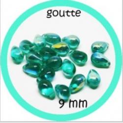 20 perles gouttes de verre 9 mm couleur bleu
