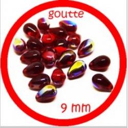 20 perles gouttes de verre 9 mm couleur rouge