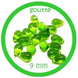20 perles gouttes de verre 9 mm couleur verre