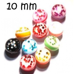 10 Perles Ronde paillette Panaché 10 mm