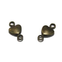 5 connecteurs coeur métal bronze