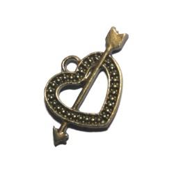 1 Breloque coeur fléche métal bronze