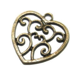 Breloque coeur spirale métal bronze