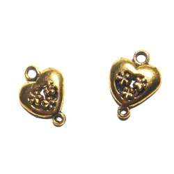 1 connecteur coeur métal doré