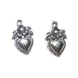 1 Breloque coeur fleur métal argenté