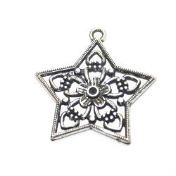 1 breloque étoile fleur métal argenté